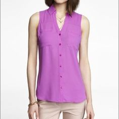 Express Portofino Shirt XS Express Portofino sleeveless shirt in magenta/pink. Express Tops Blouses