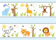 SAFARI JUNGLE ANIMAL Decal Wallpaper Border Boy Wall Art Stickers Zoo Baby Nursery Decor Kids Room Childrens Zebra Monkey Elephant Giraffe #decampstudios