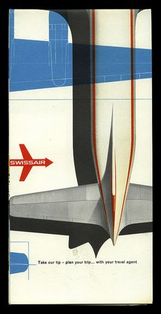 Typographic poster design for Swissair circa 1956