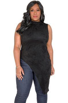 bbbce4f54da Plus Size Laneka Asymmetrical Sleeveless Mock Turtleneck Tunic Top Black  Poly-Suede