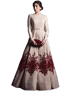 Party Wear Women's Long Gown cod Fabric : Art Silk Type : Semi-Stitched Bust : - (in inches) Waist : - (in inches) Within 6 business days Embroidered Gown, Fabric - Banglori Silk , Work -Embroidery Silk Kurti Designs, Gown Suit, White Embroidered Dress, Printed Gowns, Frocks For Girls, Western Wear For Women, Silk Gown, Mode Hijab, Muslim Fashion