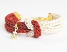 Knot bracelet nautical bracelet with anchor charm by LeiniJewelry