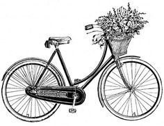 Vintage bicycle with basket full of flowers