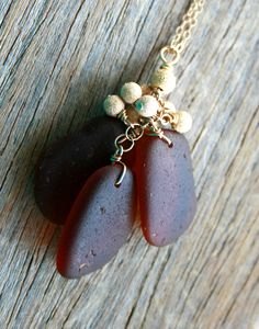 Sea Glass Jewelry Brown Charm Necklace 14K Gold Fill. $36.00, via Etsy.