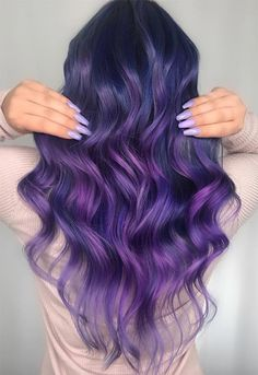 63 Purple Hair Color Ideas to Swoon Over: Violet & Purple Hair Dye Tips Violett / Lila Haarfarbe Ide Light Purple Hair, Dyed Hair Purple, Hair Color Purple, Cool Hair Color, Purple Nail, Bright Hair, Violet Hair Colors, Purple Tips, Purple Style