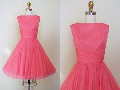 50s Dress  Vintage 1950s Dress  Coral Pink Chiffon by jumblelaya