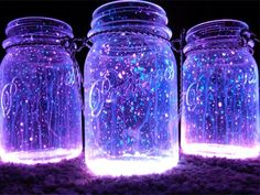 """All you need to create these fantastic looking night lanterns is some jars,  glow stick and diamond glitter. The process is as easy as it can be – open  the jar, shake the content of the glow stick into it and add the diamond  glitter. Close the top of the jar with a lid and shake it well. Kids will  be delighted bythe light of the """"Fireflies"""" in the jars! This is a perfect  idea for parties in the winter when it gets dark early, and could be great  for fairy themed parties or even given…"""
