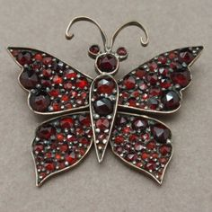 Butterfly Pin Victorian Bohemian Garnets Vintage Antique Insect Figural
