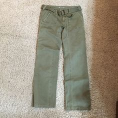 Gramicci cotton pants - olive color These pants are 100% cotton - they are olive color with a 31 inch length. Size 6 - I'm not a size 6 so I'm not sure what possessed me to buy them but I've never worn them. No tags though. They come with a woven belt Gramicci Pants Straight Leg