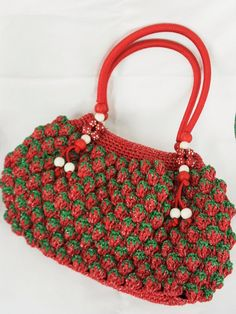 Strawberry Crochet Bag  Handcrochet Strawberry Bag by MorinaGirl, $69.00