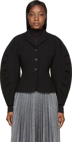 Thom Browne - Black Wool Crepe Radial Stitch Jacket