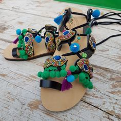 Sandali con lacci e passamanerie alta moda. Handmade by Trizia  www.collezionetrizia.it Cow, Flip Flops, Shoes, Women, Fashion, High Fashion, Moda, Zapatos, Shoes Outlet