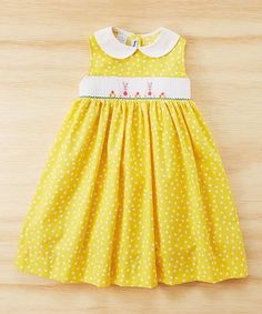 Loving this Yellow Bunny Smocked A-Line Dress - Infant, Toddler & Girls on #zulily! #zulilyfinds