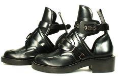 Balenciaga Black Leather Cut Out Boots