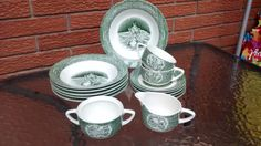 The OLD CURIOSITY SHOP Green Royal China Lot of by TheGlassMunkey