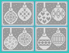 Ravelry: Christmas Bauble Charts - Hearts and Diamonds pattern by Michelle Ryan Filet Crochet, Graph Crochet, Crochet Cross, Crochet Diagram, Crochet Home, Thread Crochet, Crochet Patterns, Crochet Borders, Crochet Squares