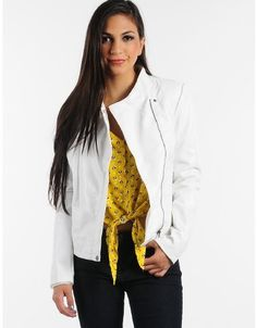 White Out For a Ride Leather Moto Jacket  | $18.50 | Cheap Trendy Jackets Chic Discount Fashion for