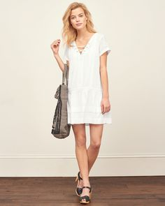 Womens Lace Up Eyelet Shift Dress | Womens Clearance | Abercrombie.com