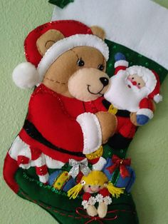 You are looking at a Bucilla handmade felt stocking titled TEDDYS CHRISTMAS which is 18and dated 2000 **Formerly under the shop name Rowlosewunique. I am still the original maker of these stockings and decided to continue making and selling them on my own. I am also the original one