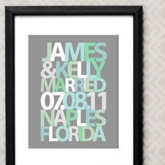 Typographic Personalized Wedding Gift Mint by AppleBlossomPrint, $28.00