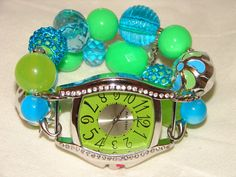 Green and Aqua Chunky Beaded Watch Band and Green by BeadsnTime, $30.00