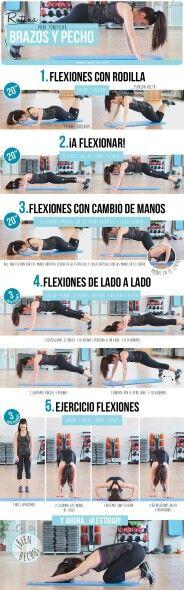 Secuencia de ejercicios para brazos y pecho. Flexiones en el piso