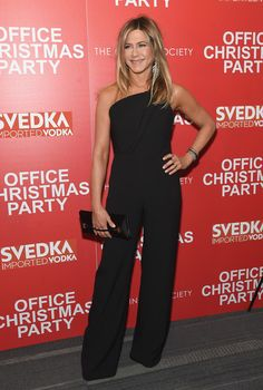 Jennifer Aniston at the Office Christmas Party New York Screening — December 5, 2016, wearing a Brandon Maxwell jumpsuit https://api.shopstyle.com/action/apiVisitRetailer?id=531668829&pid=uid7729-3100527-84. #style #celebstyle #brandonmaxwell #jumpsuits #redcarpet