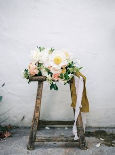 Romantic Tree Peony and Garden Rose Bouquet | Taralynn Lawton Photography | http://heyweddinglady.com/ethereal-spring-fine-art-rose-garden-wedding-shoot/