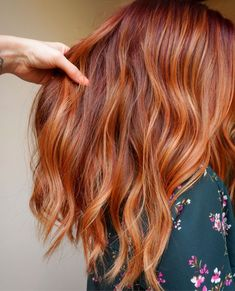 Flaming hot ▫️ All over color - + + ▫️Paint Clay Balayage ▫️Gloss + ▫️Styled with… Ginger Hair Color, Hair Color And Cut, Hot Hair Colors, Auburn Hair, Hair Colorist, Haircolor, Gold Hair, Hair Highlights, Red Balayage Hair