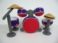 Crochet drum set...dunno what category this goes in, but ohemgee it's adorbs