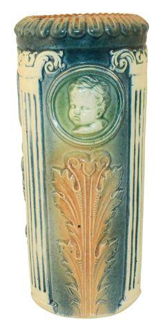 Roseville Pottery Cameo II Cherub Vase