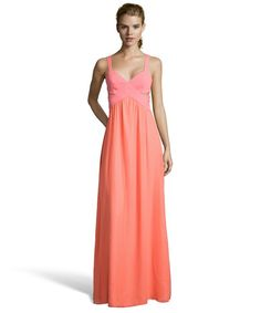 Jay Godfrey coral stretch crepe and chiffon 'Evander' cut-out gown