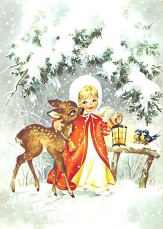 AK Merry Christmas Angel with Deer Lantern Fur Hat Winter Postcard Christmas Scenes, Christmas Deer, Christmas Past, Retro Christmas, Christmas Angels, Winter Christmas, Christmas Card Crafts, Christmas Greeting Cards, Christmas Greetings