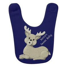 """""""Santa's Sweet Baby Reindeer"""": Match a sweet baby reindeer bib with your own sweet baby! The text can be left as is or it can be personalized, and if more room is needed for the text, the reindeer image can be resized and moved. This bib isn't necessarily just for Christmas, and so changing the text, not using """"Santa,"""" will give the bib longevity. What a wonderful gift for the mother whose baby has graduated to the high chair just before Christmas!"""