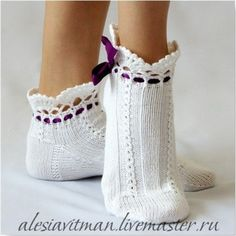 Новости Knitted Slippers, Slipper Socks, Crochet Slippers, Knit Crochet, Lace Boot Socks, My Socks, Knitting Socks, Hand Knitting, Lila Baby
