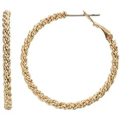 Juicy Couture Gold Tone Twisted Popcorn Chain Hoop Earrings ($7) ❤ liked on Polyvore featuring jewelry, earrings, gold, gold chain earrings, gold jewellery, chain earrings, yellow gold hoop earrings and gold earrings