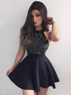 Hot Sale Comfortable Black Black Homecoming Dress, Short Mini Prom Dress With Beading, Fashion Graduation Dress Short Homecoming Dress, Prom Dresses Black Prom Dresses 2019 Short Graduation Dresses, Mini Prom Dresses, Black Party Dresses, Trendy Dresses, Day Dresses, Short Dresses, Dress Party, Dress Black, Party Gowns