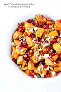 Try this delicious Sweet Potato Pomegranate Salad from Two Peas and Their Pod! With savory sweet potatoes, tart pomegranates, crunchy pumpkin seeds, and some feta to top it off, it's the ultimate Fall salad! Vegetarian Recipes, Cooking Recipes, Healthy Recipes, Vegan Vegetarian, Food For Thought, Fall Recipes, Dinner Recipes, Pomegranate Salad, Clean Eating