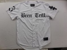 New Been Trill Mens Graphic Print Button Front Baseball Jersey Tee T-Shirt Sz M #BeenTrill #Jerseys