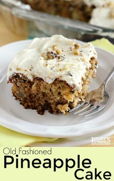 Pineapple Cake by Renee's Kitchen Adventures - easy cake dessert recipe made with canned pineapple. No oil or butter but is super moist and delicious! Frost this cake while still warm for an easy dessert anytime! #pineapple #cake #pineapplecake #easydessertrecipe