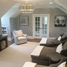 Bonus room decorating ideas bonus room design, bonus room hang out space, finished attic space, neutral family room design, neutral bonus room design with shiplap and chaise lounge for home theater modern farmhouse family room Bonus Room Decorating, Decorating Ideas, Basement Decorating, Decor Ideas, Interior Exterior, Interior Design, Modern Interior, Exterior Doors, Room Above Garage