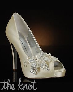 High-Society by High-Society // More from High-Society: http://www.theknot.com/gallery/bridal-accessories/decorated-wedding-shoes-by-my-glass-slipper
