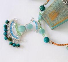 Amazonite 925 Sterling Silver Necklace Amazonite Bohemian Necklace Turquoise & Amazonite Natural Gemstone Boho Jewelry Layering Necklace by BeadIndulgences on Etsy