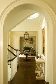 Harrison Design took inspiration from the classic homes of New England for this house in Greenwich, Connecticut.  They included our Blenheim Console in the upper hall.  www.niermannweeks.com #niermannweeks