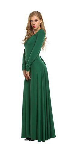 ACEVOG Women's Long Sleeve Belt Elegant Swing Evening Long Party Dress at Amazon Women's Clothing store:
