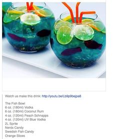 The Fish Bowl # tipsy Bartender Great party Idea. Liquor Drinks, Cocktail Drinks, Cocktail Recipes, Cocktail Ideas, Fishbowl Drink, Fishbowl Cocktail, Rum, Vodka, Alcholic Drinks