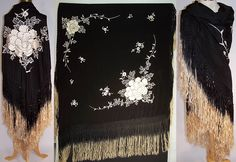Antique Art Deco Black & White Silk Roses Floral Embroidered Piano Shawl