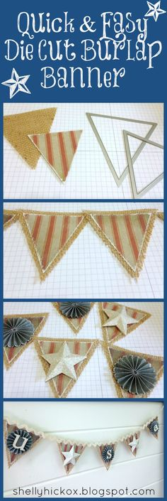 Fun patriotic banner made with @Sizzix dies from @Tim Holtz