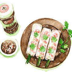 Vietnamese Recipes, Vietnamese Food, Vietnamese Spring Rolls, Food Doodles, Food Sketch, Watercolor Food, Food Painting, Food Drawing, Food Illustrations
