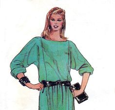 80s Batwing Dress Vintage Sewing Pattern by allthepreciousthings, $9.00